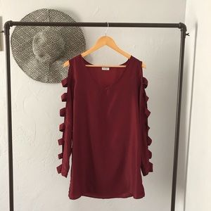 Cut-Out Sleeved Wine Dress